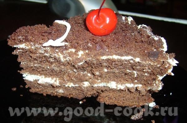 Торт шоколадный с кремом из молочного и белого шоколада - 2