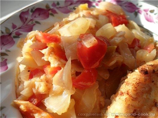 Овощи тушеные капуста 1/3 качана болгарский перец 1 шт