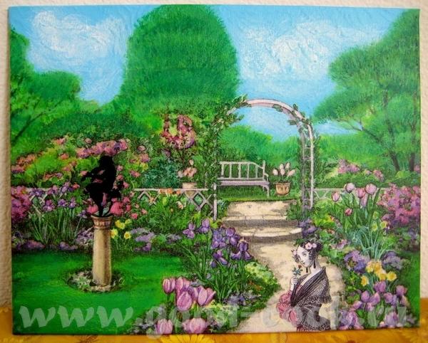 """Картина на холсте: """"В моем саду, Ланфрен-ланфра"""" Холст 2 раза прогрунтован, затем наклеена салфетка..."""