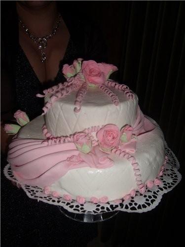 Это мой первый торт с мастики, делала себе на юбилей.