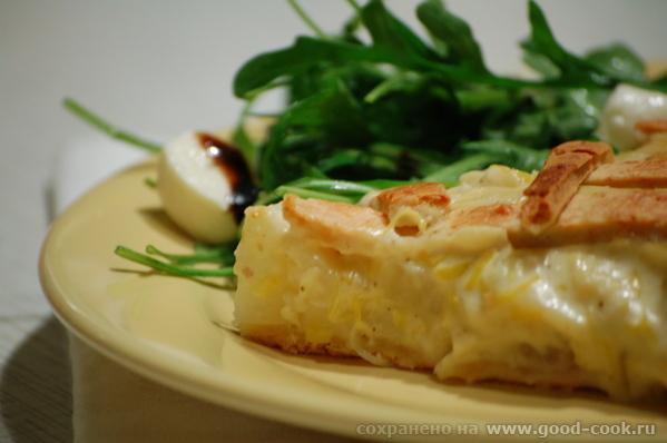 Замечательный пирог из песочного теста с сырным ароматом и пикантным вкусом, с мягкой начинкой и сл... - 2