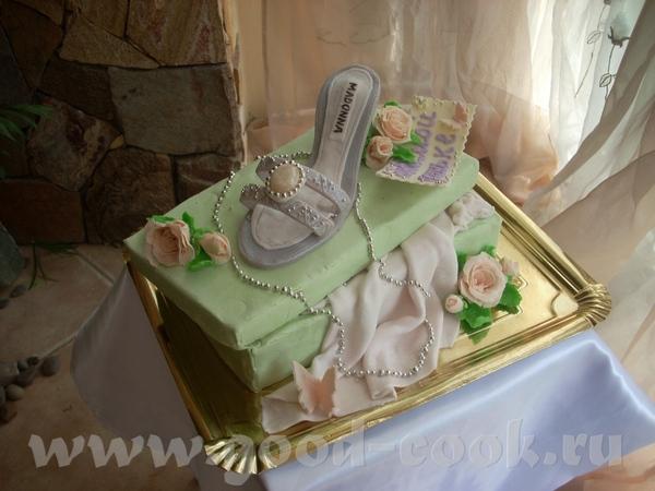 Тортик с босоножком на коробке - 3