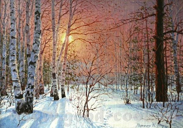 Очень хорошая идея, красиво и интересно Посмотрите какая интересная зима у художника Дмитрия Кустан... - 4