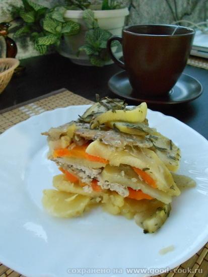 мясо с овощами слоями в СВЧ