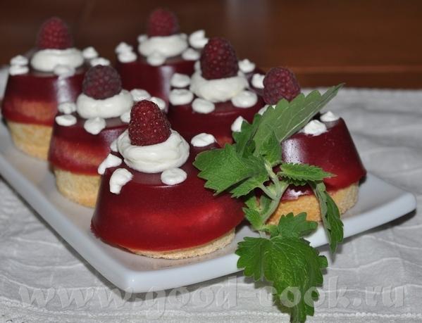 Малиновые пирожные Для бисквита: 2 яйца (отделить белки от желтков) 65 гр сахарного песка 75 гр мук...
