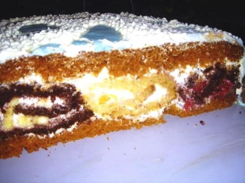 Рулетный торт Выпекается 3 вида коржа: Корж первый: 2 яйца+1 ст - 2