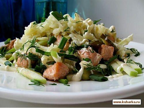 Салат с семгой и овощами Филе семги 100г, картофель 2 шт