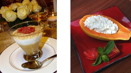 Блюда из сыра и творогa и другие молочные продукты Мусс c Рокфором и грушевым пюре Папайя с сыром к...