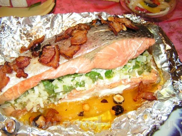 Запеченая семга с беконом и фундуком Свинина запеченая+картофель с беконом В верхнем правом углу са...