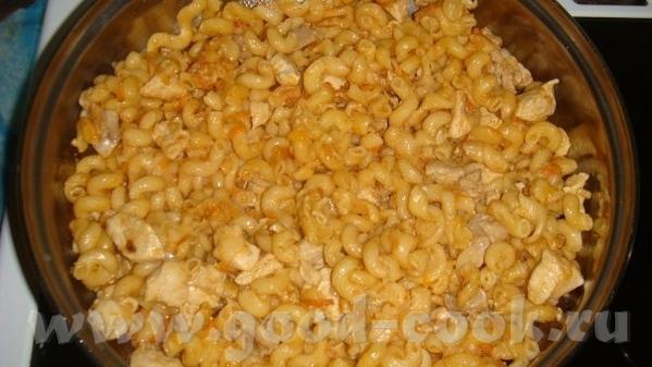 Макароны, тушеные с курицей 1 небольшая луковица, 3 дольки чеснока 1 морковь 1,5 ст