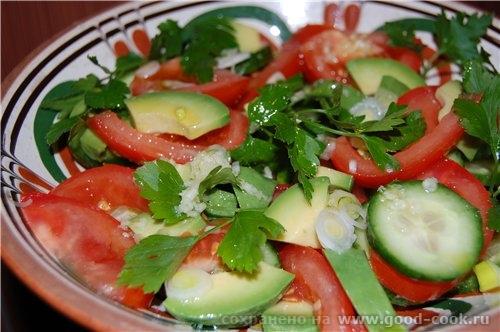 Салаты из авокадо с помидорами и огурцом рецепты
