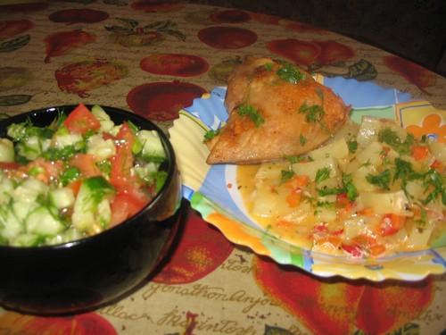У нас сегодня скромненький ужин: Супчик куринный И картошечка тушенная с перчиком и сливками, к ней... - 2