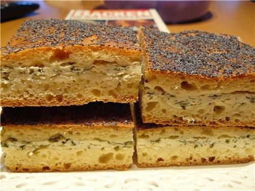 Пирог с брынзой и творогом - Quark-Kдse-Fladen Для теста: 500 г муки 40 г свеж