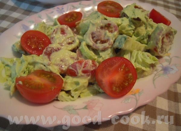 Блюда от Салат из пекинской капусты, порея, томатов и огурцов с заправкой из авокадо Суп из кревето...