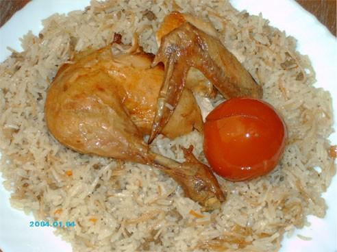 """Мой обед - курица, фаршированная рисом с фаршем - """"Жаж-махши"""""""