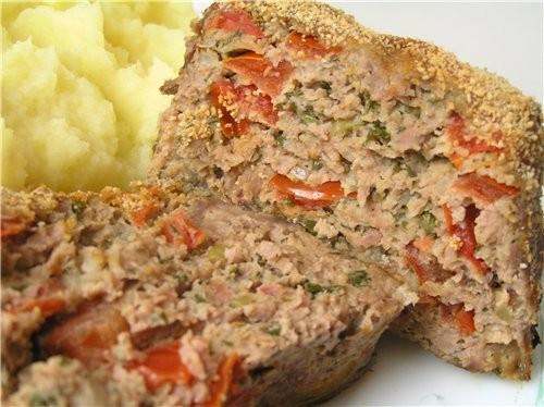 Мясной хлеб с горчичной корочкой Запеченные котлеты под картофельной корочкой
