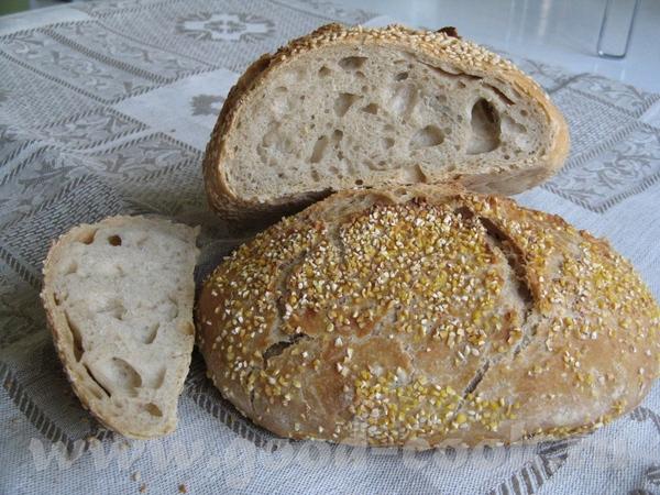 Хлебная булка без замеса У Алисы очень хорошо и подробно описано как печь этот хлеб, за что ей боль... - 2