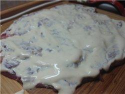 Мясной рулет с черносливом и сыром Ингредиенты: - 500 г свинины (у меня был брусочек задней части)... - 4