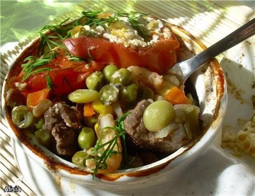 Горшочек Овощной с Креветками и Говядиной
