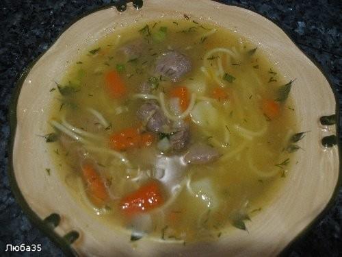 суп с вермишелью и куриными пупками, не требующий зажарки
