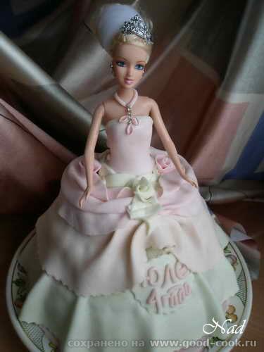 """УКРАШЕНИЕ ПОДАРОЧНОГО ТОРТА """"БАРБИ"""" Пекла и украшала тортик на 4-летие крестницы Юлички - 2"""