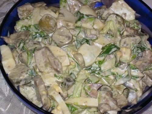 Весенний салат Покупной хуммус Тушенная капуста Рецепты - 5