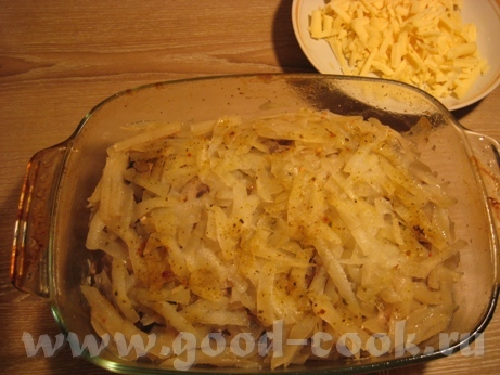 Картофельная запеканка с курицей и шампиньонами Потребуется куриное филе (у меня одна долька 200 г)... - 8