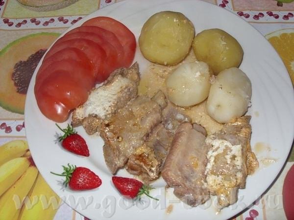 Рёбрышки свиные в томатно-сливочном соусе Способ приготовления: 1 кг рёбрышек тушим примерно 1 час,...