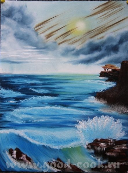 это вторая проба моря, не как не могу сделать красиво разбивающуюся волну, пожалуйста подскажите ка...