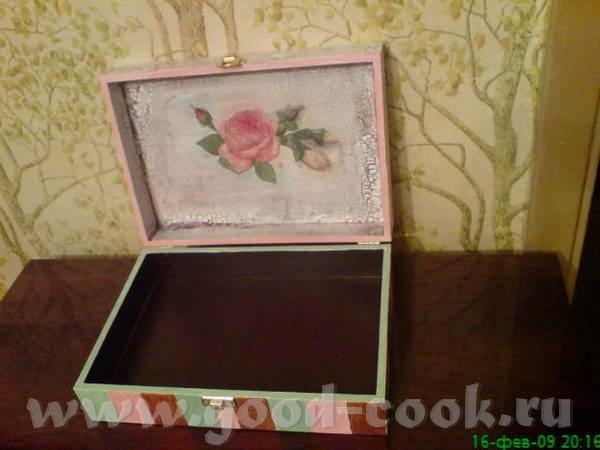 Вот такая осталась коробка от коньяка Грунт,салфетка-декупаж А это внутри коробки - 3