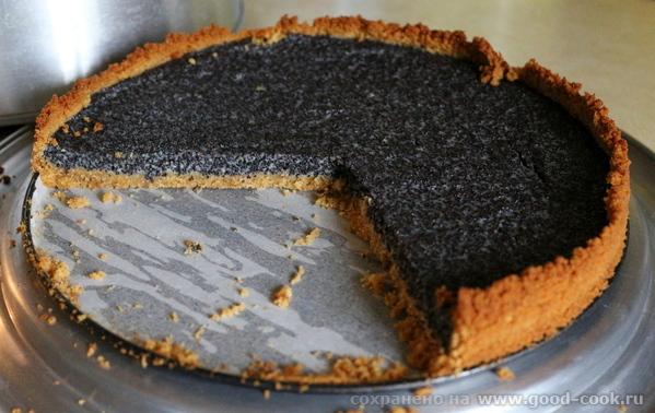 маковый пирог на основе из печенья