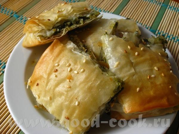 Пирог со шпинатом и фетой (из теста фило) Цитирую: Ингредиенты:На 12 порций: 225 г упаковки свежег...
