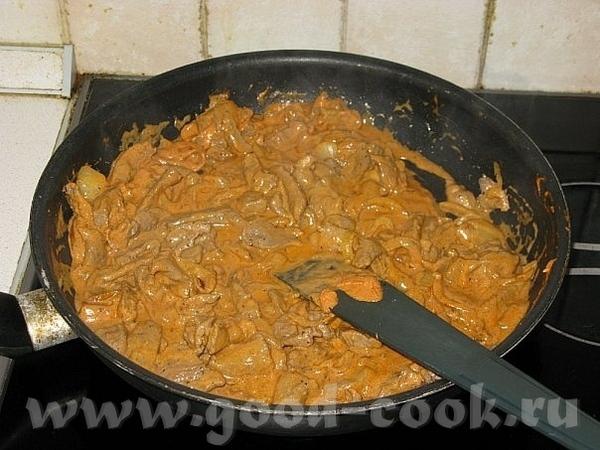 600г говяжьей вырезки 2 луковицы сметана - 100г масло сливочное кетчуп(хайнц) - 1ст