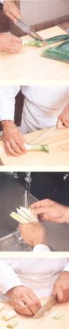 очистка и нарезка лука-порея