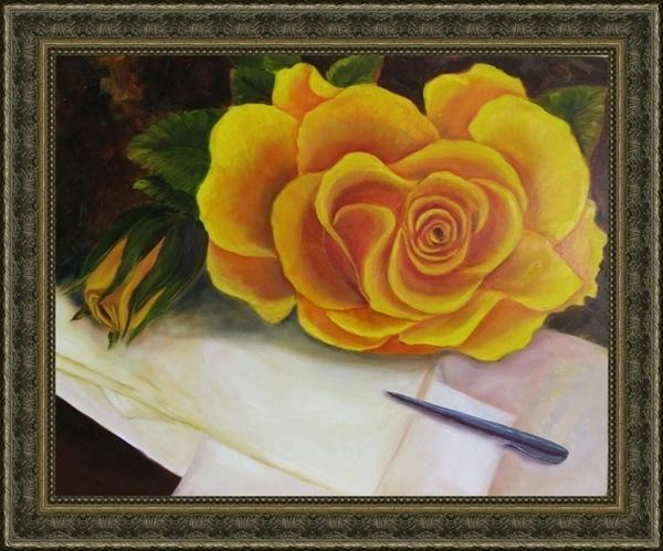 "Желтая роза, доработанный вариант, масло 40х50 см Вишенка, 20х30 см, масло Диптих ""Вишенки"" 2х20х30..."