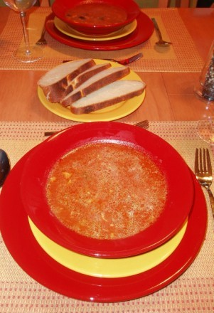 Наш Валентинковский ужин Густой суп от Шер Форель с миндалем,спаржа с лимоном,молодой картофель с о...