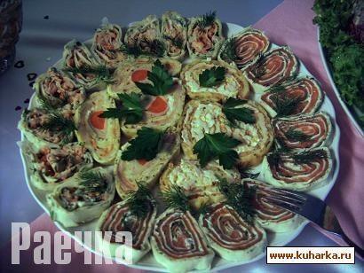 Лавашные рулетики с лососем от Olja