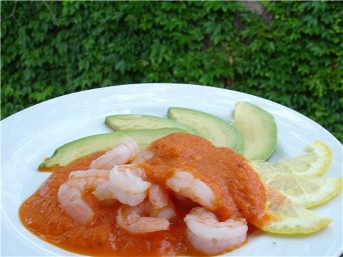 Креветки с авокадо под соусом из перцев-гриль 3 красных болгарских перца (у меня ораневые были) - р...