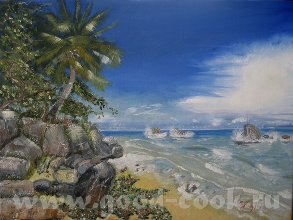 А я взяла и переписала свою картину с пальмой и морем, хотела мазками, короче по-моему, испортила - 2
