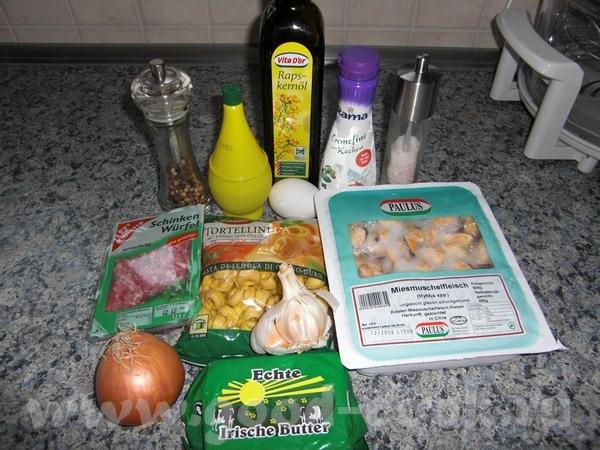 Супчик из мидий с тортеллини( с сырной начинкой) и картофелем