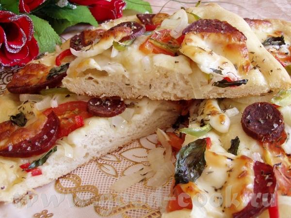 Соленые шарикии с моцареллой и перцем Фокачча с колбасой и овощами - 4