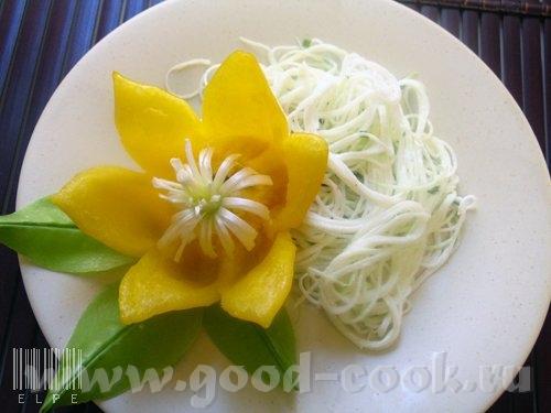 ОТСЮДА Цветок из болгарского перца 1 болгарский перец небольшого размера 1 зеленый лук с корешком 3...