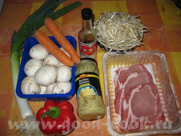 Китайское Ингридиенты: Морковка 1-2 Лук-порей Перец болгарский 1-2 шт - 2