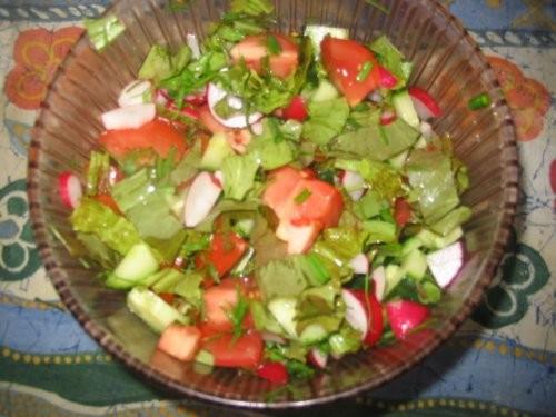 яичница салатик гриль колбаски ещё один салатик щи со щавелем(как с капустой только вместо капусты... - 4