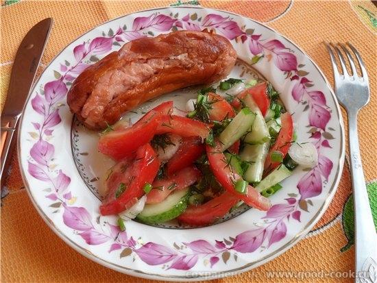Шпигачки на мангале с овощным салатом Грибы в сметане Пирожки с луком и яйцом