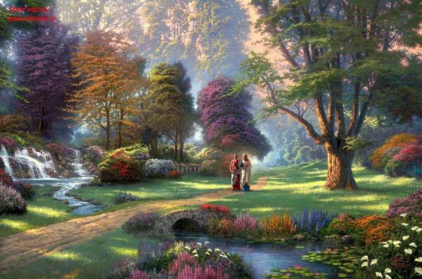 Какой сказочно прекрасный пейзаж у Тхомас Кинкаде Девочки, пожалуйста, погуляйте на Dream Worlds, т...
