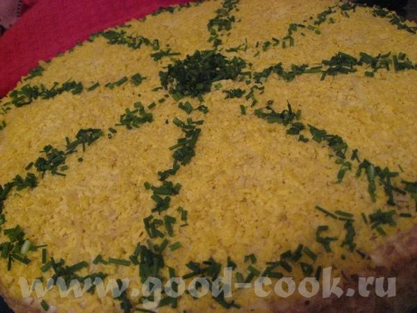 Закусочный торт «Мимоза» с вафельными коржами В упаковке 4 коржа: 1й корж - майонез и лосось консер...