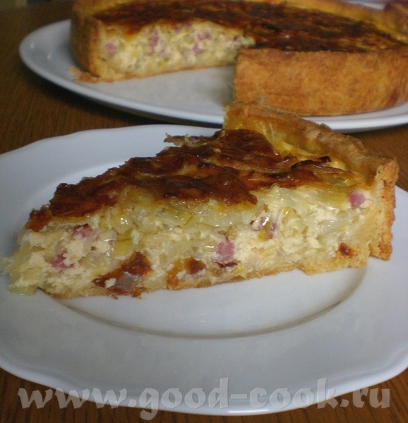 Пирог с луком-пореем и беконом - 2