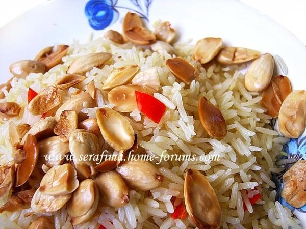 Рис басмати с перцем чили, шафраном и миндалем - стакан риса басмати - соль или 1 бульонный кубик -...