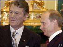 Президент России Владимир Путин после переговоров с новым президентом Украины Виктором Ющенко заяви...